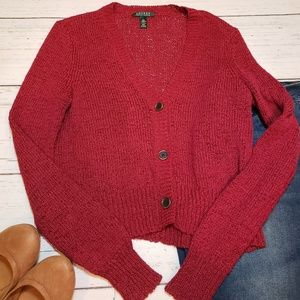 EUC + Ralph Lauren + Red knit cardigan